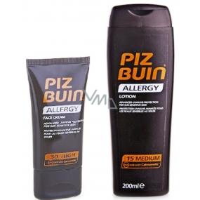 Piz Buin Allergy SPF15 opalovací mléko 200 ml + Piz Buin Allergy Face SPF30 opalovací krém 50 ml, duopack