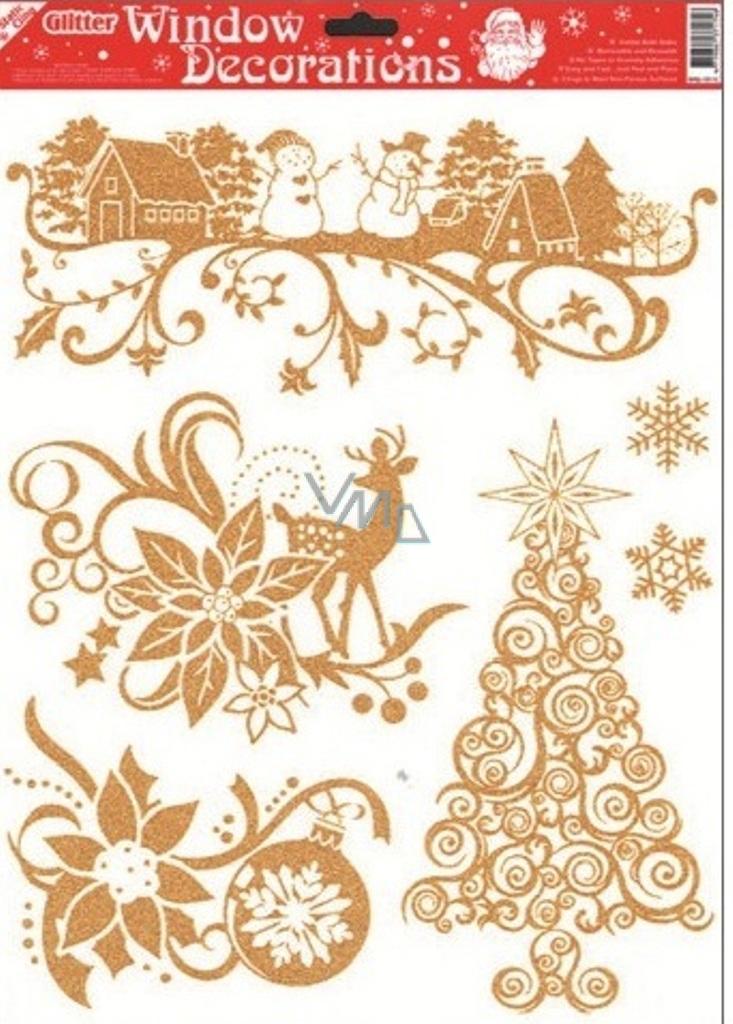 Room Decor Okenní fólie bez lepidla se zlatými glitry 2. stromek 42 x 30 cm