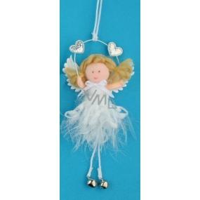 Anděl hebký s rolničkou na zavěšení č.4 12 cm