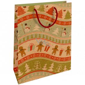 Nekupto Geschenk Kraftbeutel 28 x 37 cm Weihnachtslebkuchen, Schneemänner 606 WKHL