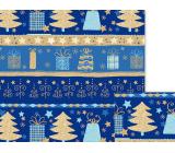 Nekupto Dárkový balicí papír 70 x 200 cm Vánoční Modrý se stromky a dárky