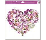 Okenní fólie bez lepidla Srdce z květů Orchidej 30 x 33,5 cm
