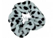 Bartoň Gumička sametová střední bílá s černými puntíky 3,5 x 9 cm