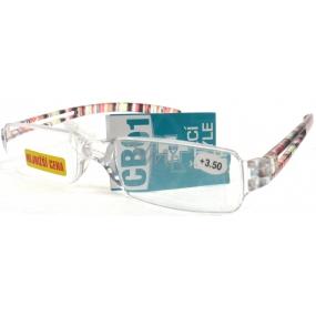 Berkeley Čtecí dioptrické brýle bez obrouček +3,50 barevné proužky CB01 1 kus MC2066
