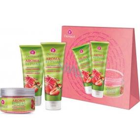 Dermacol Aroma Ritual Rebarbora a Jahody Svěží sprchový gel 250 ml + tělové mléko 200 ml + tělový peeling 200 g, kosmetická sada