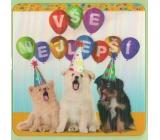 Albi Blahopřání do obálky 3D K narozeninám Pejsci Vše nejepší 15,5 x 15,5 cm