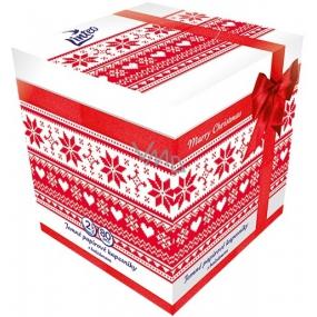 Linteo Kostka červená papírové kapesníky s balzámem bílé 2 vrstvé 80 kusů