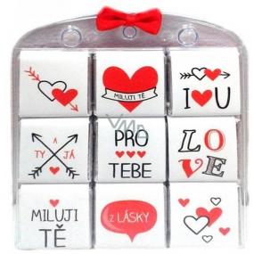Nekupto Čokoládové puzzle Pro Tebe, Miluji Tě, srdíčka 9 x 5 g
