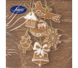 Nekupto Vánoční papírové ubrousky Hnědé, perníčky 33 x 33 cm 3 vrstvé 20 kusů 062 01