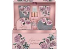 Baylis & Harding Boudoire Sametová růže a Kašmír tělový sprej 100 ml + tělové máslo 100 ml + sůl do koupele 100 g + sprchový krém 50 ml + mycí gel 50 ml + šperkovnice, kosmetická sada