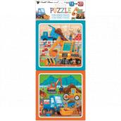 Puzzle Stavební stroje 15 x 15 cm, 16 a 20 dílků, 2 obrázky