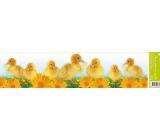 Room Decor Okenní fólie bez lepidla pruh velikonoční zvířátka kačenky a žluté gerbery 64 x 15 cm