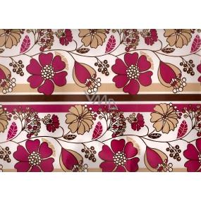 Nekupto Dárková kraftová taška střední 32,5 x 26 x 13 cm Světlá s růžovými květy 1 kus 202 CL