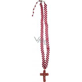 Bižuterie Náhrdelník červený s křížem 41 cm