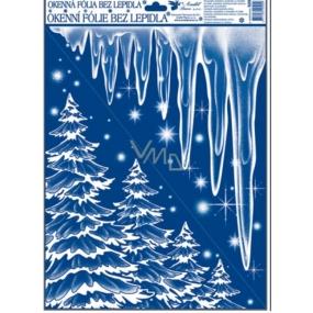 Okenní fólie bez lepidla rohová zamrzlá s duhovými glitry stromy, rampouchy 42 x 30 cm