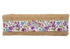 Stuha z juty s fialovými a modrými kytkami šířka 6 cm, 2 m