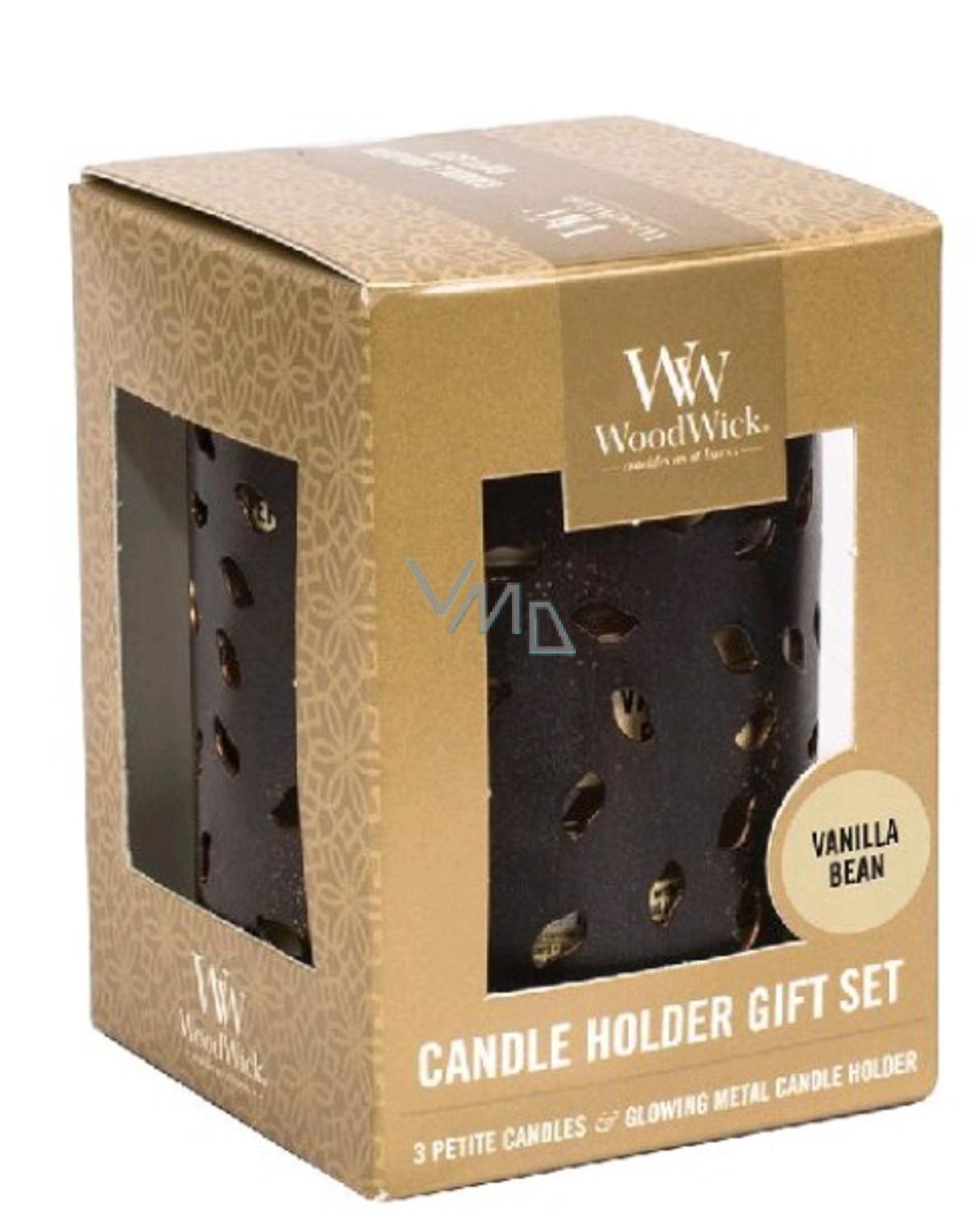 WoodWick Gift Set 3pcs petite + candlestick Glowing Leaf 9488