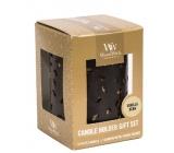 WoodWick Vanilla Bean - Vanilkový lusk vonná svíčka s dřevěným knotem petite 3 x 31 g + Zářící list svícen, dárkový set