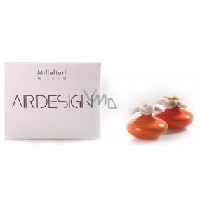 Millefiori Milano Air Design Difuzér květina nádobka pro vzlínání vůně pomocí porézní vrchní části mini oranžová 2 kusy, 80 ml, 7 x 6 cm