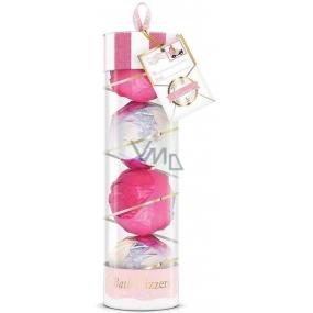 Baylis & Harding Růžová kolekce šumivé koule do koupele 4 kusy x 100 g, kosmetická sada