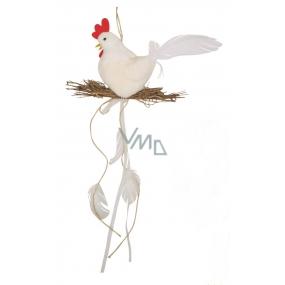 Slepička plyšová s hnízdem 25 cm na zavěšení bílá