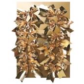 Mašle textil zlatá na platíčku 5 cm 12 kusů