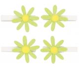 Kytičky zelené s glitry na kolíčku 5 cm, 4 kusy v sáčku