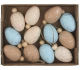 Vajíčka se třpytem plastová na zavěšení 4 cm, 12 kusů v krabičce