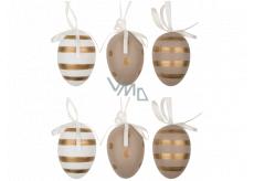 Vajíčka se zlatými proužky a puntíky plastová na zavěšení 6 cm, 6 kusů v sáčku
