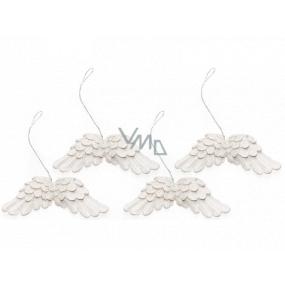 Andělská křídla bílá na zavěšení 75 mm 4 kusy