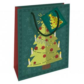 Nekupto Dárková papírová taška 14 x 11 x 6,5 cm Vánoční zelená stromeček WBS 1923 50
