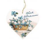 Bohemia Gifts Dřevěné dekorační srdce s potiskem Veselé Velikonoce 13 cm