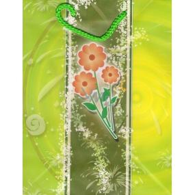 Nekupto Dárková papírová taška střední BM Zelená tři červené kytky 23 x 18 x 10 cm