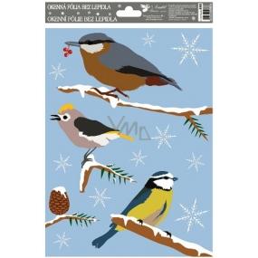 Okenní fólie bez lepidla ptáci zimní 30 x 20 cm