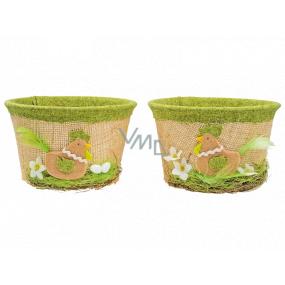 Košík velikonoční s jutou a zeleným dekorem 14 cm 1 kus