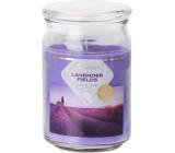 Emocio Lavender Fields - Levandulové pole vonná svíčka sklo se skleněným víčkem 93 x 142 mm
