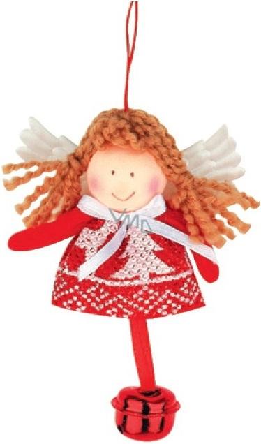 Anděl červenobílý s rolničkou na zavěšení 10 cm