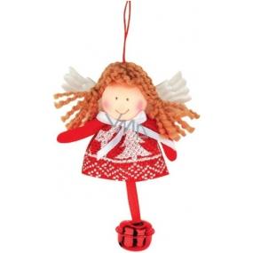 Anděl červenobílý s rolničkou k zavěšení 10 cm