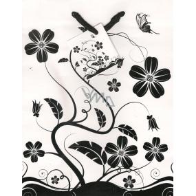Nekupto Dárková papírová taška střední 23 x 18 x 10 cm Bílá, černé květy 1110 02 KFM