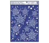 Room Decor Okenní fólie rohová s glitrem a sněhovým efektem hvězdy 38 x 30 cm č. 3