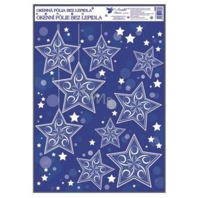 Room Decor Okenní fólie bez lepidla rohová s glitrem a sněhovým efektem hvězdy 38 x 30 cm č. 3