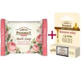 Green Pharmacy Intensive relief 5 oils balzám na rty 2 x 3,6 g + Damašská růže a Bambucké máslo toaletní mýdlo 100 g, triopack