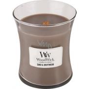 WoodWick Sand & Driftwood - Písek a naplavené dřevo vonná svíčka s dřevěným knotem a víčkem sklo střední 275 g