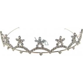 Bižuterie Štrasová plesová čelenka do vlasů stříbrná s kamínky 36 cm