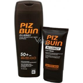 Piz Buin Allergy Sun Sensitive Skin SPF50+ opalovací mléko 200 ml + Piz Buin Allergy SPF50+ opalovací krém na obličej 50 ml, duopack