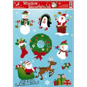 Okenní fólie bez lepidla vánoční motivy uprostřed vánoční věnec 42 x 30 cm