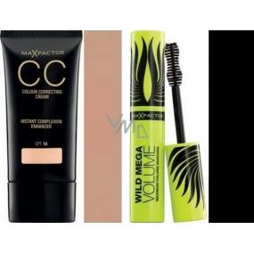Max Factor Colour Correcting Cream SPF10 CC krém 50 Natural 30 ml + Wild Mega Volume řasenka černá 11 ml
