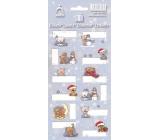 Arch Vánoční etikety samolepky Medvídci světle modrý arch 12 etiket