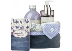 Bohemia Gifts & Cosmetics Lavender La Provence Vzpomínka na Provence sprchový gel 250 ml + šampon 200 ml + pěna do koupele 500 ml + látkový košík, kosmetická sada