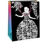 Ditipo Dárková papírová taška k vymalování bílá, černá bílá dáma 22 x 10 x 29 cm Kreativ 40